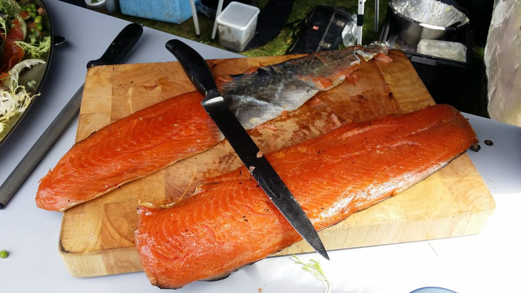 "Smoked salmon for the BeVox 2016 Summer Picnic, prepared by Daniel Allen of ""Gravy & Custard"""